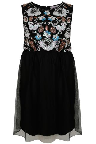 PRASLIN Black Skater Dress With Sequin & Bead Embellishment