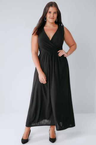 Maxi Dresses PRASLIN Black Slinky Wrap Front Maxi Dress 138313