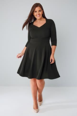 Black Dresses PRASLIN Black V-Neck Skater Dress 138449