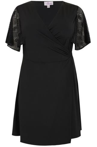 PRASLIN Black Wrap Dress With Lace Short Sleeves