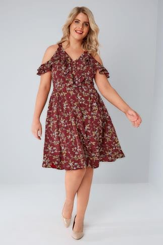Party Dresses PRASLIN Burgundy Floral Print Cold Shoulder Dress 138448