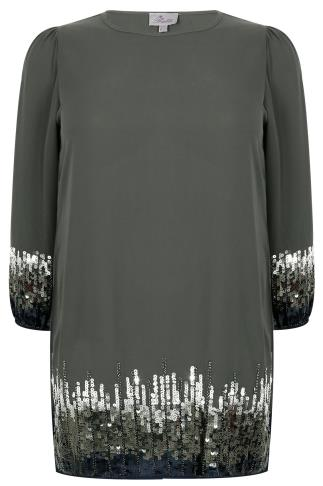 PRASLIN Grey Shift Dress With Sequin Shimmer Detail