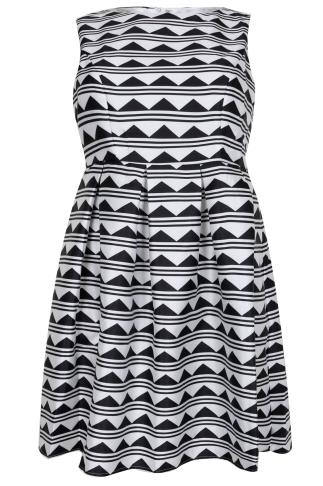 PRASLIN Monochrome Mixed Print Skater Dress With Pleats