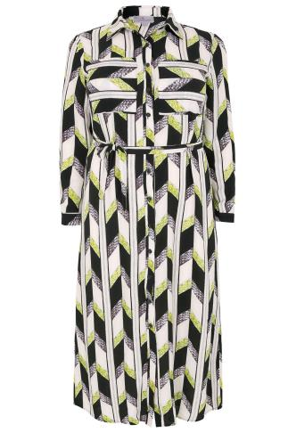 PRASLIN Multi Geometric Woven Shirt Dress With Waist Tie