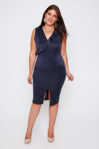 Midikleider PRASLIN Navy Satin Bodycon Midi Dress 103197