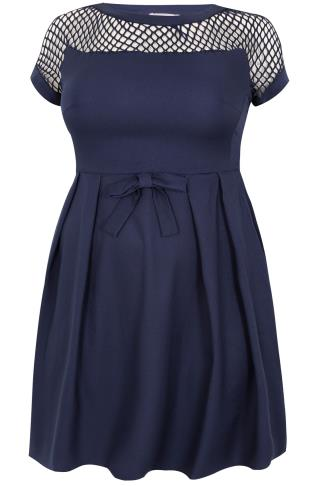 PRASLIN Navy Shift Dress With Netted Neckline & Shoulder Detail