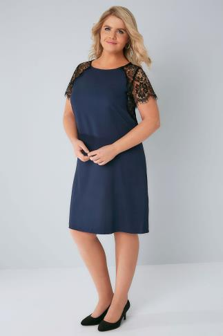 PRASLIN Navy Shift Dress with Lace Sleeves 138320
