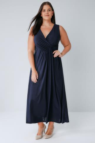 Maxi Dresses PRASLIN Navy Slinky Wrap Front Maxi Dress 138314