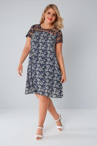 Party Dresses PRASLIN Navy & White Floral Print Shift Dress With Lace Yoke 138592