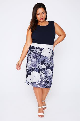 PRASLIN Navy & White Floral Print Sleeveless Midi Pencil Dress