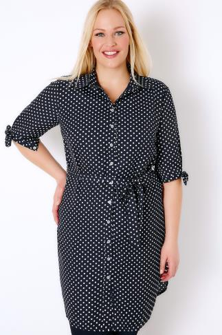 PRASLIN Navy & White Polka Dot Print Longline Shirt With Waist Tie