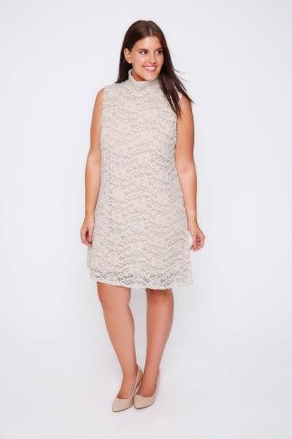 PRASLIN Nude & White Lace Swing Dress With High Neck