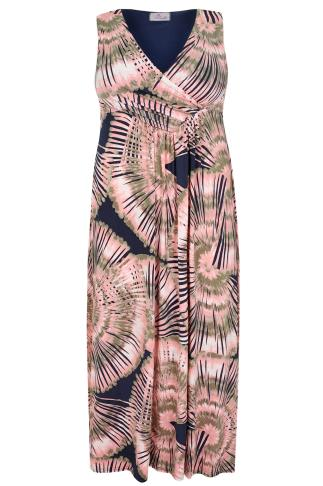 PRASLIN Pink & Navy Tie Dye Print Maxi Dress