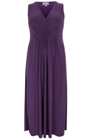 PRASLIN Purple Slinky Wrap Front Maxi Dress