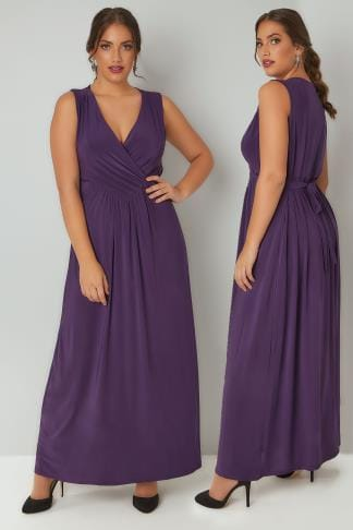Maxi Dresses PRASLIN Purple Slinky Wrap Front Maxi Dress 138321