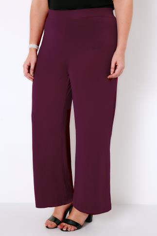PRASLIN Purple Wide Leg Jersey Palazzo Trousers
