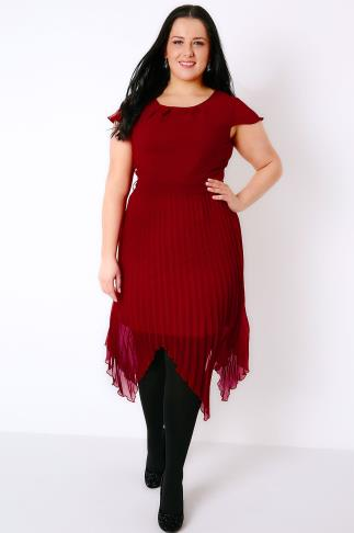 PRASLIN Wine Dress With Pleated Skirt & Tie Waist