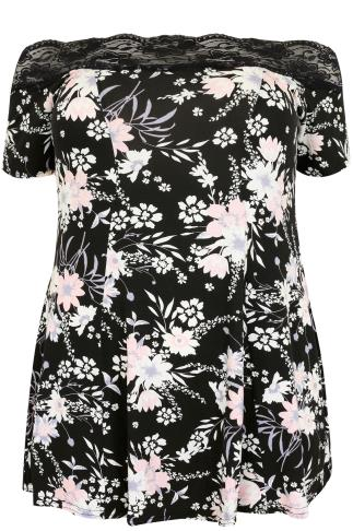 Black Floral Lace Bardot Top With Short Sleeves