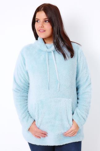 Pale Blue Fluffy High Neck Fleece