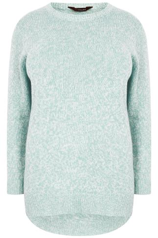 Mint & White Textured Jumper With Dipped Hem