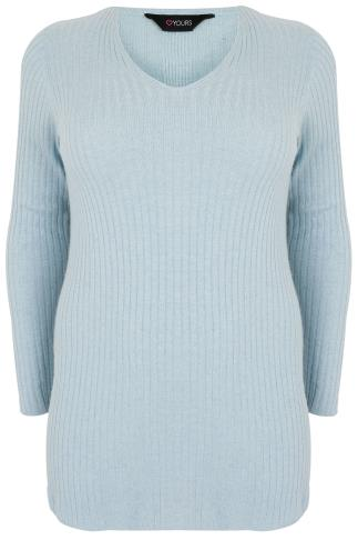 Pale Blue Wool Blend Ribbed  Jumper With Side Slit Detail