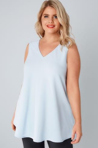 Pale Blue Sleeveless Swing Top 156234