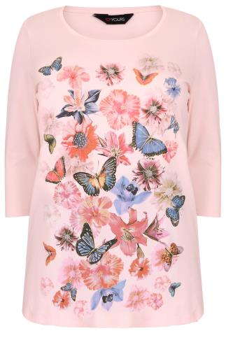 Pale Pink Floral & Butterfly Print T-Shirt With 3/4 Sleeves & Dip Back