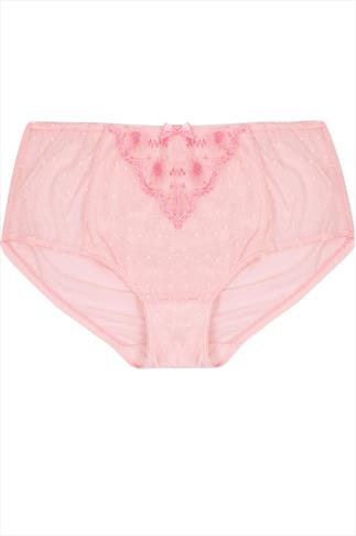 Pale Pink Floral and Spot Embroidered Briefs