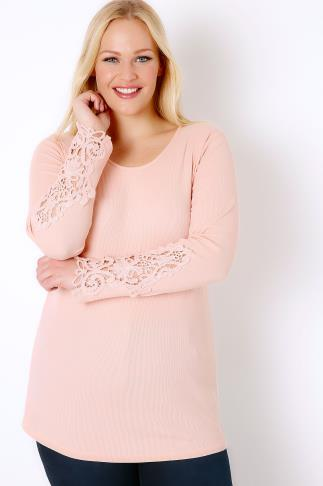 Pale Pink Long Sleeve T-Shirt With Crochet Detail