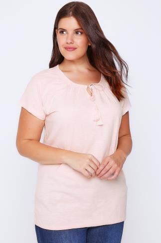 Pale Pink Short Sleeve Cotton Gypsy Top With Tassel Tie