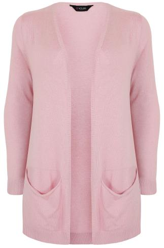 Pale Pink Soft Knit Cardigan With Slouch Pockets
