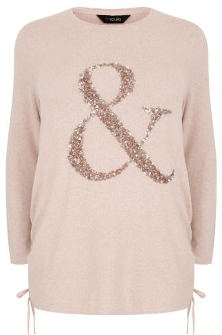 "Pale Pink Soft Touch ""&"" Sequin Jumper With Ruched Sides"