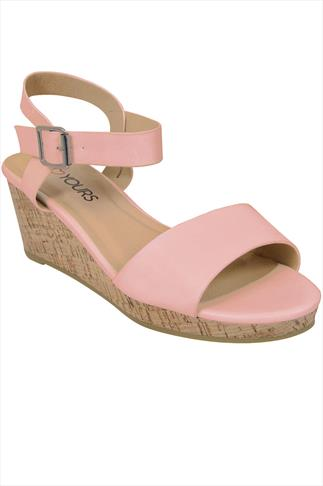 Pale pink High Cork Wedge Sandal In EEE Fit