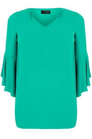 Pastel Green Blouse With Bell Sleeves
