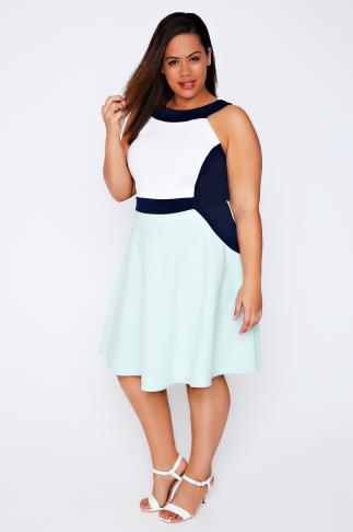 Pastel Green, Cream & Navy Colour Block Skater Dress