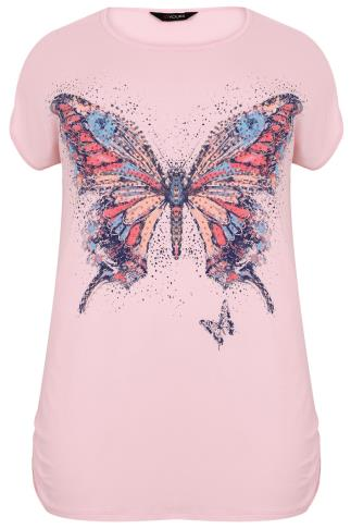 Pastel Pink Butterfly & Stud Print Top With Ruched Sides