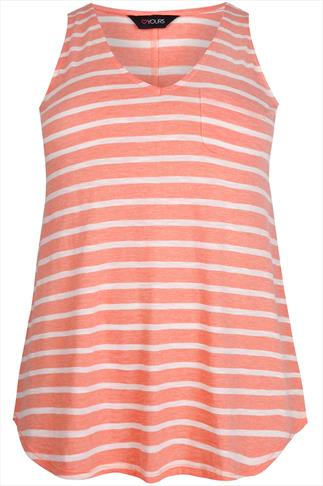 Peach And White Striped V-Neck Jersey Vest Top With Pocket