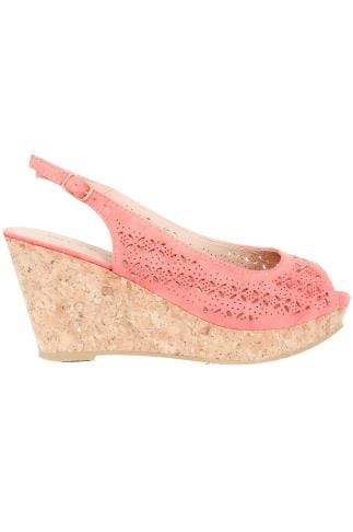 Wide Fit Wedges Peach COMFORT INSOLE Laser Cut Slingback Wedge Sandal In EEE Fit 154022