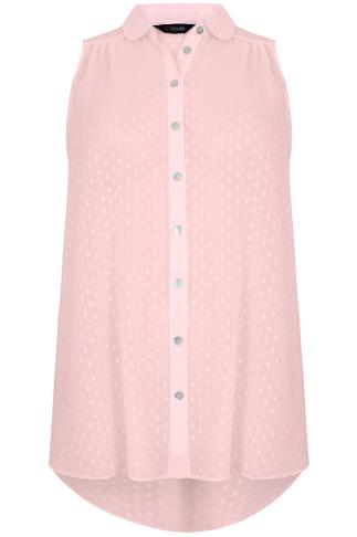 Peach Dot Detail Sleeveless Chiffon Shirt