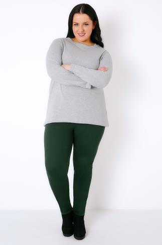 Jeggings Pine Green Jeggings With Elasticated Waist 101579