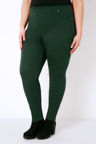 Pine Green Jeggings With Elasticated Waist