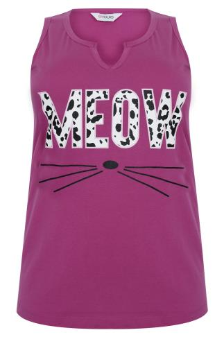 Pink & Animal 'Meow' Print Sleeveless Pyjama Top