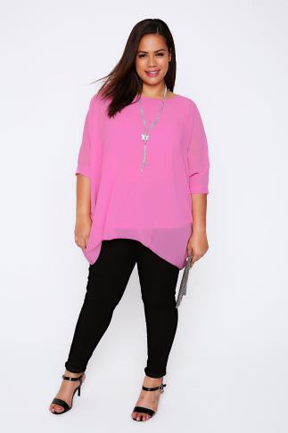 Pink Batwing Sleeve Chiffon Top With Necklace 101898