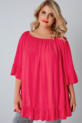 Gypsy Pink Beaded Gypsy Top With Flute Sleeves 130092
