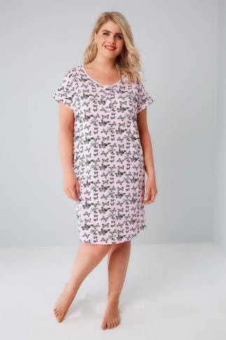 Nightdresses & Chemises Pink & Black Butterfly Print Nightdress 148054