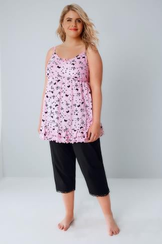 Pyjama Sets Pink & Black Butterfly Print Pyjama Top & Cropped Bottoms 148023