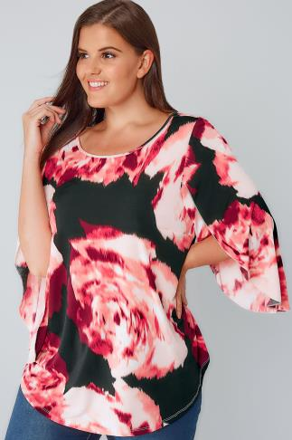 Pink & Black Floral Print Oversize Jersey Top With Floaty Sleeves 170153