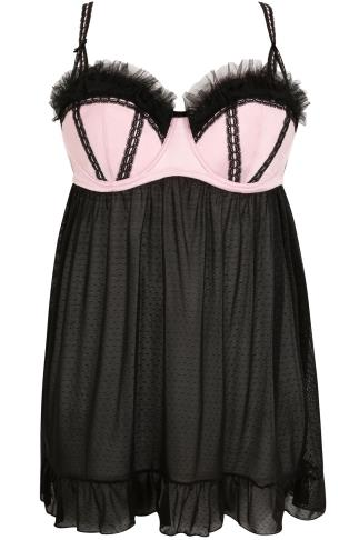 Pink & Black Satin & Spotted Mesh Babydoll With Frill Detail