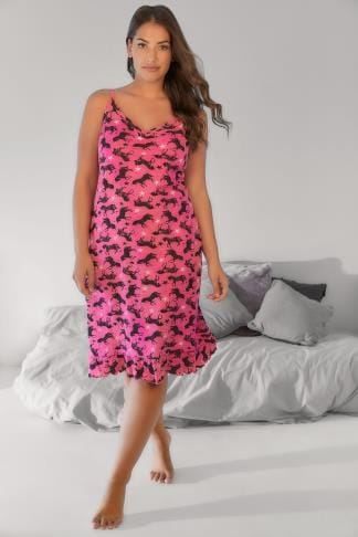 Nightdresses & Chemises Pink & Black Unicorn Print Nightdress 148100
