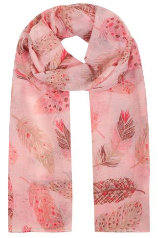 Pink & Brown Feather Print Scarf 152068